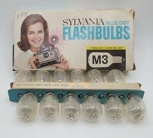 Vintage Sylvania M3 Blue Dot  Camera Flash Bulbs Box of 12 Clear Bulbs