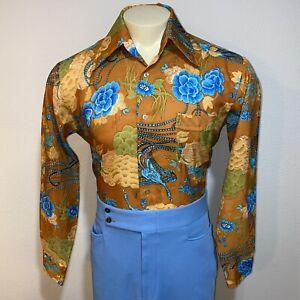 VTG-60s-70s-Herren-grosse-Disco-Shirt-Pfau-Polyester-Boogie-Nights-Peachskin-Mod