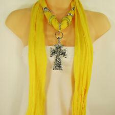 Women Scarf Yellow Fabric Fashion Long Necklace Big Silver Pendant Cross Charm