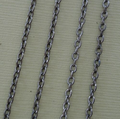 15ft-Gun Metal Plated Cross Round Cable Chain 2x3mm.