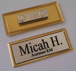 Details about SILVER Engraved Name Tag on GOLD metal frame 1