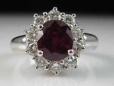 18K Ruby Diamond Ring Princess Diana White Gold Red Fine Jewelry Size 4.5 $5500