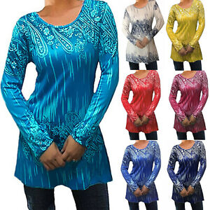 Plus-Size-Womens-Boho-Floral-Long-Sleeve-Blouse-Casual-Loose-Tops-Tunic-T-Shirts