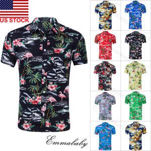 Fashion-Hawaiian-Shirt-Mens-Flower-Beach-Aloha-Party-Casual-Holiday-Short-Sleeve