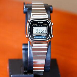 Casio-Ladies-Black-Digital-Classic-Vintage-Silver-Steel-Band-Watch-LA670WA-1-New