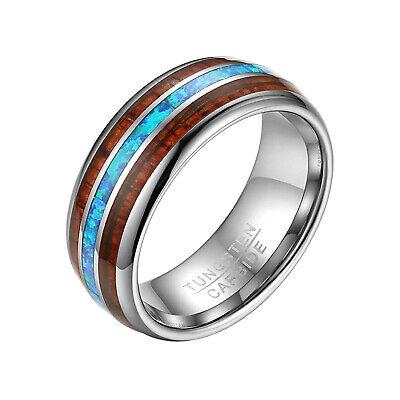 8mm Polished Blue Tungsten Carbide Wedding Ring Koa Wood Beveled Edge Mens Band
