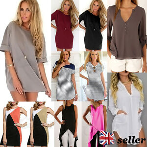 UK-Women-Blouse-Chiffon-Long-Sleeve-Ladies-T-Shirt-Casual-Loose-Short-Dress-Tops