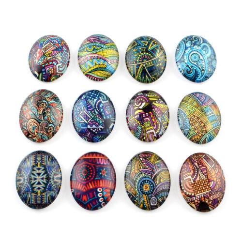 10pcs Fantaisie Flatback Glass Cabochons Dôme en verre ovales Cover Dôme Artisanat 40x30mm