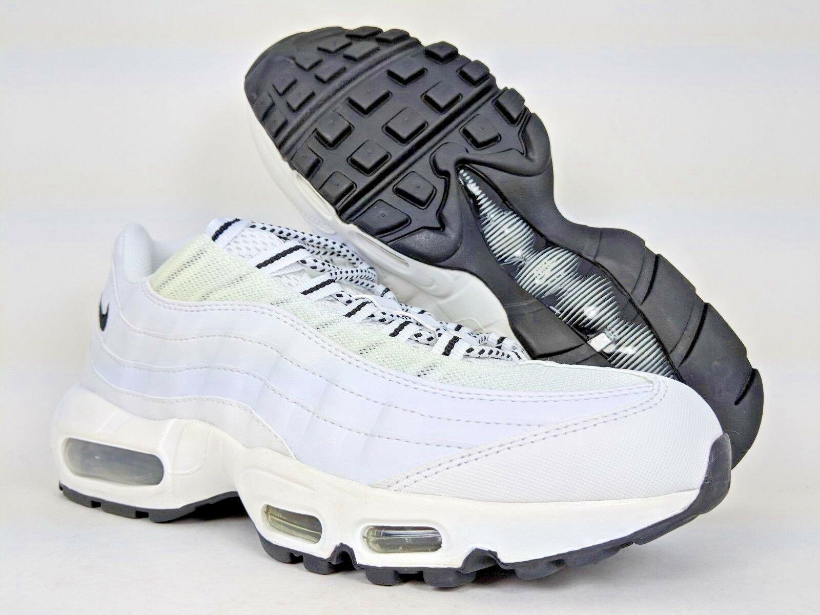 98a793609b NIKE MEN'S AIR 95 RUNNING SHOES ALL WHITE BLACK AM95 [609048-109] SZ 13 MAX  ntkfod3615-Athletic Shoes