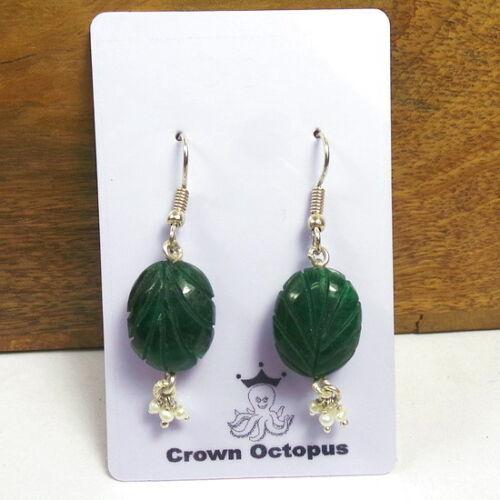 """42 ct naturel brésilien Carved Emerald Pearl Boucles D/'oreilles Pendantes 2/"""" ~ Cadeau de Noël"""