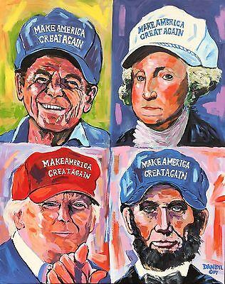 4 Presidents Trump Reagan Lincoln Washington Original Art PAINTING Dan Byl 4x5'