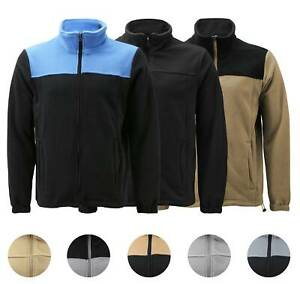 Men's Full Zip-Up Two Tone Solid Warm Polar Fleece Soft Collared Sweater Jacket