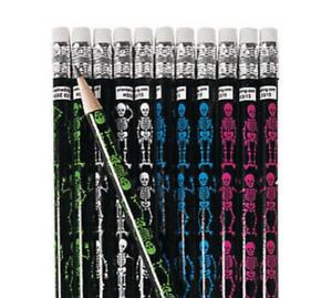 Pack-of-12-Skeletons-Pencils-Halloween-Party-Loot-Bag-Fillers