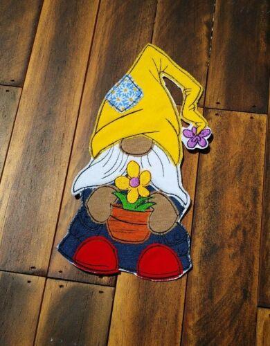 Patch Iron-On Gardener Gnome  Embroidered Applique Kids Goblin Farmer