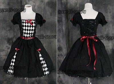 M-546 S/M/L/XL/XXL schwarz karo Gothic Lolita Cosplay Kostüm costume Kleid dress