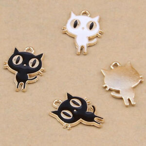 Enamel charms cartoon cat pendant jewelry making diy gold gp small image is loading enamel charms cartoon cat pendant jewelry making diy mozeypictures Images