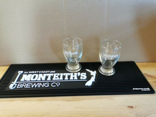 2 x Monteiths West Coast Brewing Company 15cl glasses and thick rubber bar mat