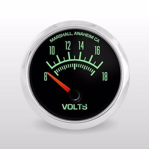 C2 60s Muscle 3 Gauge Set, Stainless Bezels, Volts, Oil Pressure, Water Temp