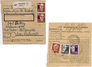 1952-Paketkartenstammteil-mit-zweimal-84-Pfg-Koepfe-I-Michel-Nr-227-b