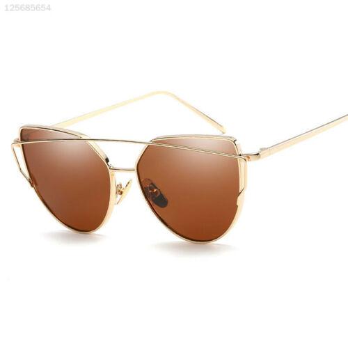 4547 Multiple Sunglasses Cat Eye Mirrored Glasses Oversized Women Gold+Brown