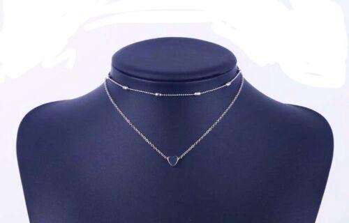 Delicado Colgante de Corazón en Plata de dos capas separadas Gargantilla cadenas