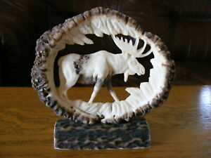 Details About Hand Carved Antlers Moose Decor Taxidermy Skull Hunting