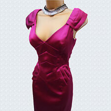 Exquisite Karen Millen Dark Pink Stretch Satin Pleat Peplum Pencil Dress 10 UK