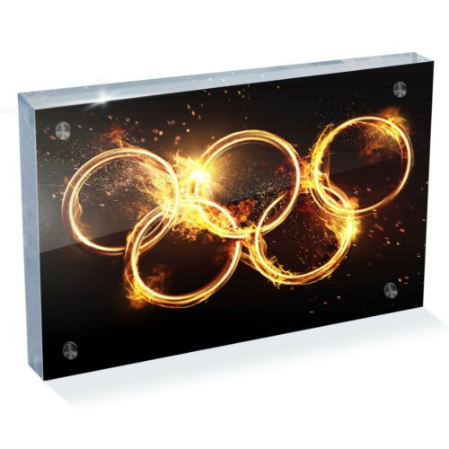 "Bureau Art Bureau Cadeau #14526 SUPERBE anneaux olympiques de feu Photo Block 6 X 4/"""