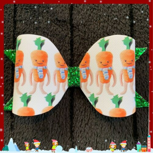 "4/"" Kevin The Carrot on a clip Christmas hair bow"