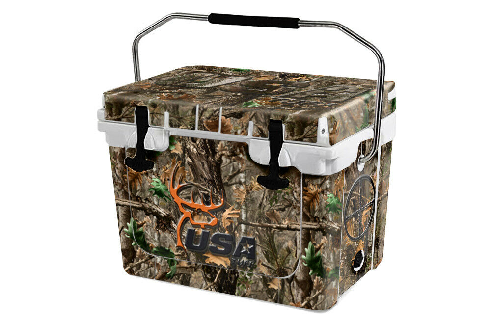 USATuff Custom Cooler Wrap 'Fits New Mold' RTIC 20QT FULL Woodland DeerHead
