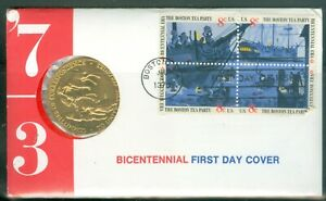US-FDC-BICENTENNIAL-WITH-COMMORATIVE-MEDAL-cancelled-1973-NOT-ADDR