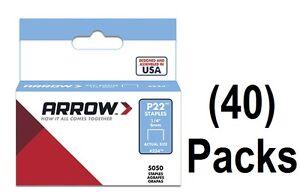 """(40) ea Arrow # 224 (5050) pack 1/4"""" 6mm Staples for P22 Plier Staple Gun"""