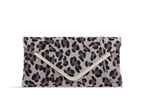 Ladies Fx Suede Leopard Print Clutch Bag Animal Print Evening Bag Handbag KZ330