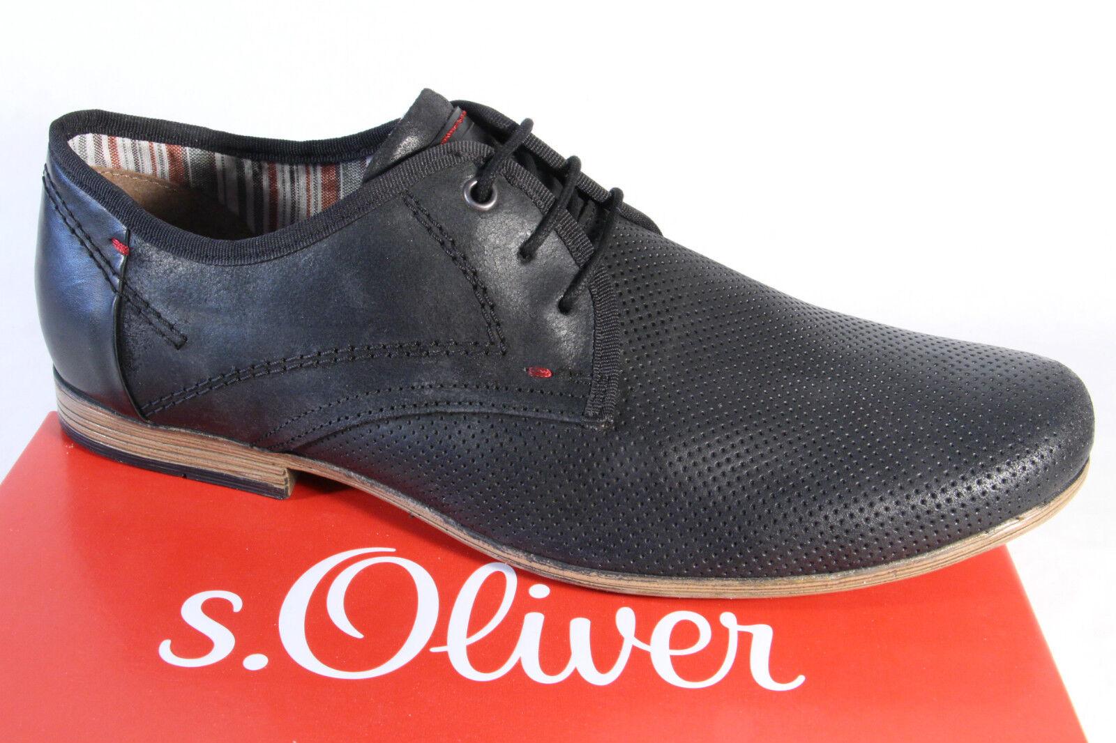 S.Oliver Herren Schnürschuhe, Halbschuhe, Sneakers schwarz Leder  NEU!!