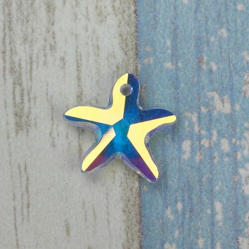 20//50//100PCS Crystal Starfish Enamel Pendant Charm DIY Necklace Jewelry Making