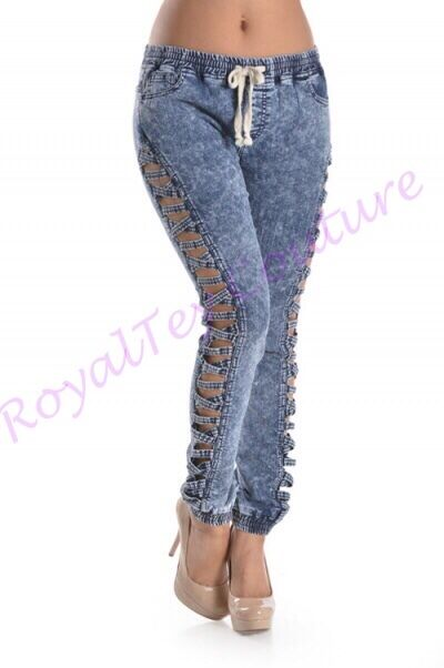 RoyalTey Fashions, bluee Acid Wash Ripped Denim Joggers
