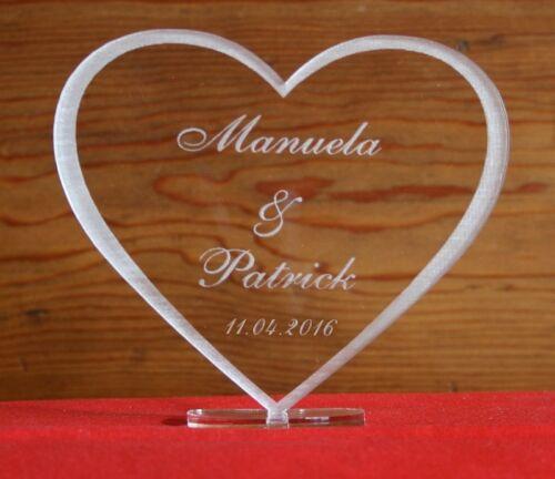 date au choix à saint-valentin Love GRAVURE nom Coeur en verre acrylique exploitant