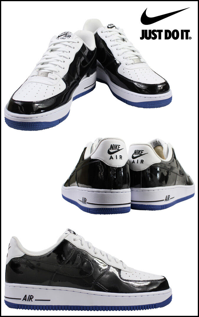 Nike Mens Air Force 1  Sneakers  Black White & bluee leather 488298 058 Size 6.5
