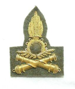 Original-Italian-Army-Heavy-AA-Artillery-Officer-039-s-Gold-Bullion-Cap-Badge