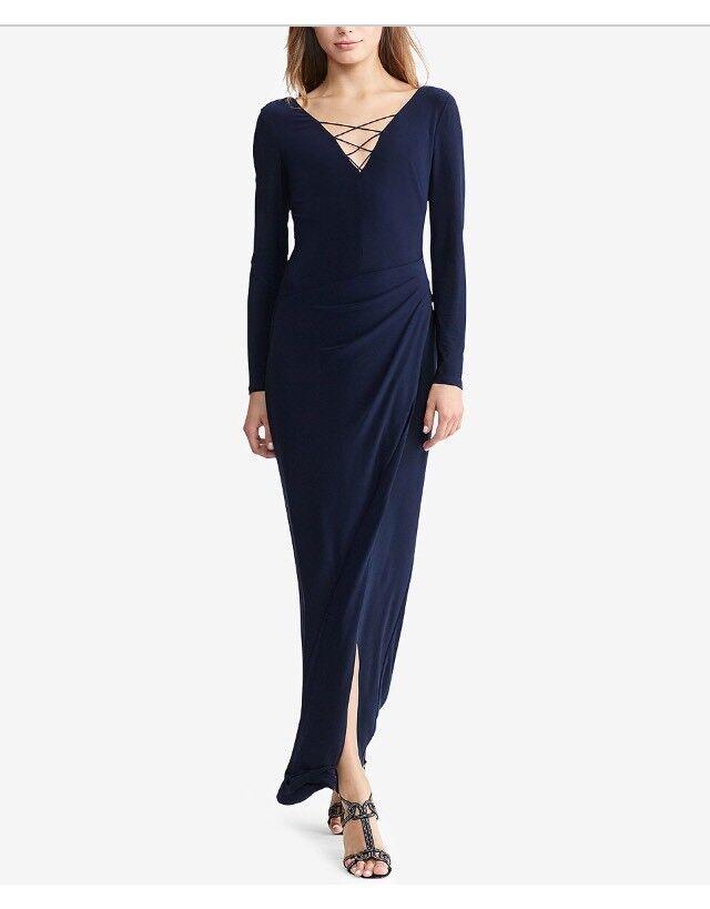 Lauren Ralph Lauren NEW Blau Lace Up Jersey Woherren Größe 10 Maxi Dress