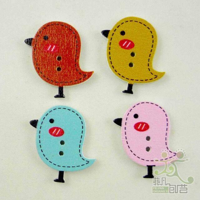 10/100 pcs wood flatback/Button lot 4 colors birds 26x24MM craft embellishment