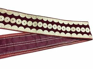 Ribbon-Sewing-Craft-Maroon-And-Gold-Sari-Border-Fabric-Trim-Lace-By-1-Yard-6-5cm