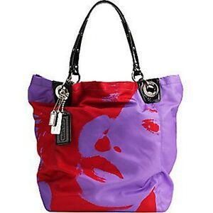 Image Is Loading Coach Madison Nylon Photoprint Multi Purple Bucket