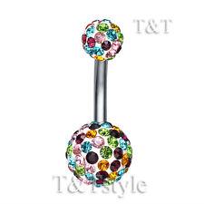 T&T 10mm Multi Color Swarovski Crystal Ball Belly Bar Ring BL138Z