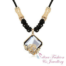 18K Yellow Gold Plated Made With Swarovski Crystals Rose Bloom Long Necklace