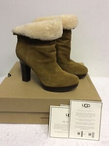 3149ee86e06 Details about UGG BROWN SUEDE DANDYLION II SHEEPSKIN LINED ANKLE BOOTS SIZE  6.5/ 39 RRP £170