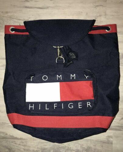 VTG 90s TOMMY HILFIGER Blue Backpack Bag Carry On