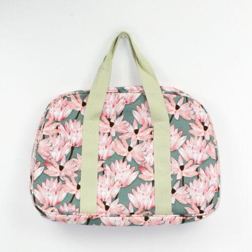 Ladies Blossom Medium Weekender Grey /& Pink Floral Print Canvas Bag Holdall