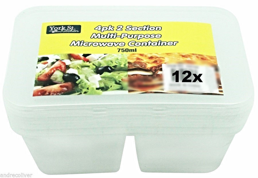 12 Disposable Plastic 2 Section Container Food Storage