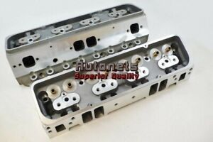 Small-Block-Chevy-350-Aluminum-Bare-Cylinder-Head-Pair-Angled-Plug-64CC-205CC